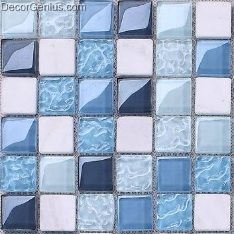 classic popular ice cracked flower blue ktv front desk countertop mosaic tile bathroom swimming pool tiles