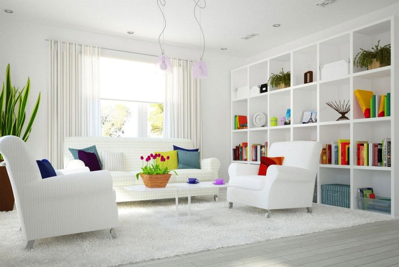Colorful Decoration Of Neutral Color Living Rooms