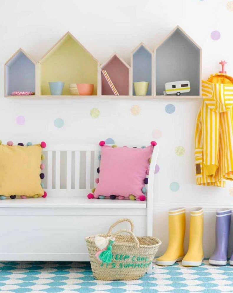 Beautiful Wall Shelves Pastel For Kids Bedroom Decoration Ideas