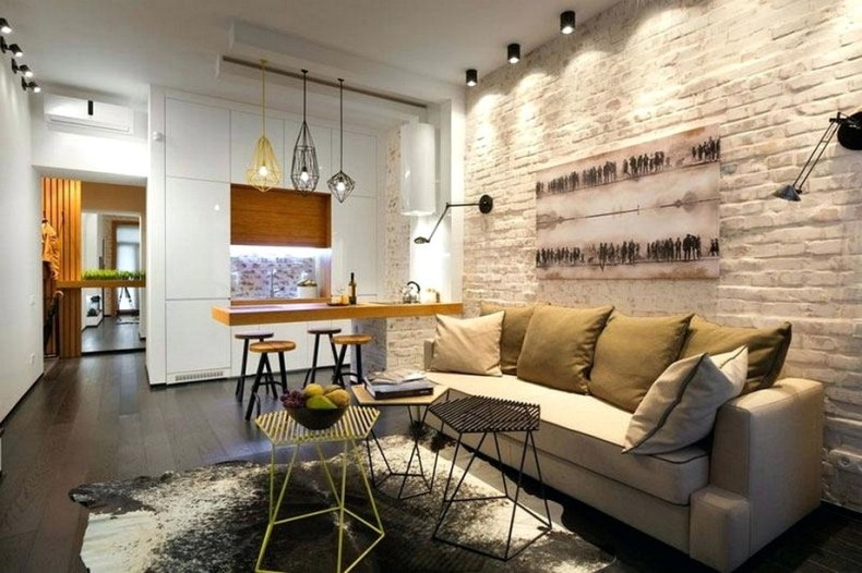 Classic And Modern Style Interior Design With Brick Wall Paint