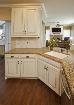 Chick Cream Kitchen Cabinets With Brown Granite Countertops