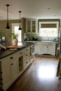 Cream Colored Kitchen Cabinet Ideas Wood Floors and Black Countertops