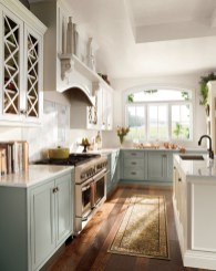Cream Colored Rustic Kitchen Cabinets