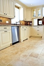Cream Kitchen Cabinets Brown Tile Floors