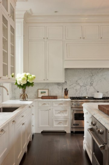 Kitchen Cream Cabinets Dark Wood Floors