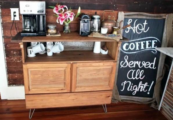 Wooden Kitchen Coffee Station
