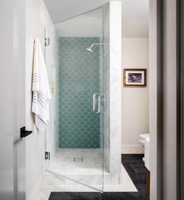 Shower Stall with Interesting Tile Design