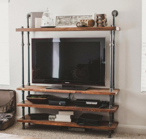 Pipeline and Wood TV Stand
