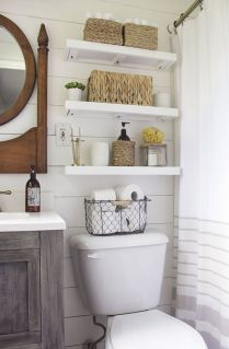 41 + Types Of Guest Bathroom Ideas Half Baths Floating Shelves 114