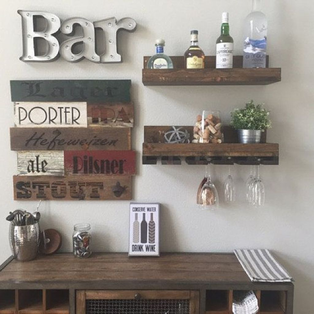 Trendy Pallet Mini Bar Design Ideas To Try 25