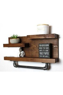 Amazing Bathroom Shelf Ideas With Industrial Farmhouse Towel Bar Tips For Buying It 06