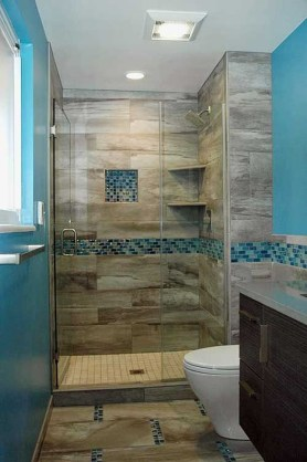 Chic Blue Shower Tile Design Ideas For Your Bathroom 06
