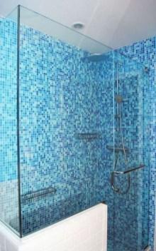 Chic Blue Shower Tile Design Ideas For Your Bathroom 30