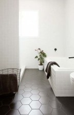 Fantastic Black Floor Tiles Design Ideas For Modern Bathroom 01