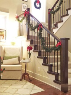 Charming Winter Staircase Design Ideas With Banister Ornaments To Try Asap 11