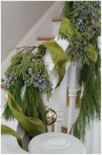 Charming Winter Staircase Design Ideas With Banister Ornaments To Try Asap 12