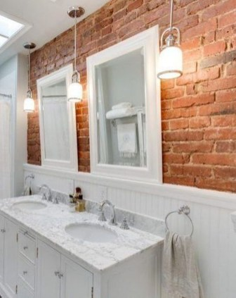 Fabulous Bathroom With Wall Brick Decoration Ideas To Try Asap 25