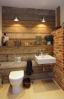 Fabulous Bathroom With Wall Brick Decoration Ideas To Try Asap 41