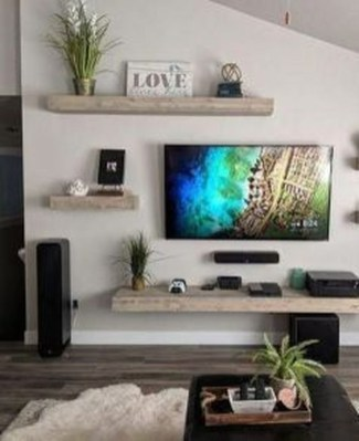 Unique Living Room Floating Shelves Design Ideas For Great Home Organization 07