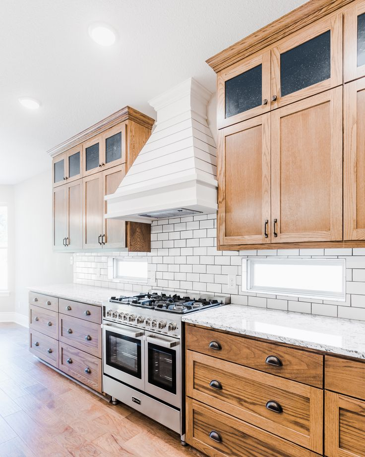 Farmhouse Kitchen With Light Oak Cabinets