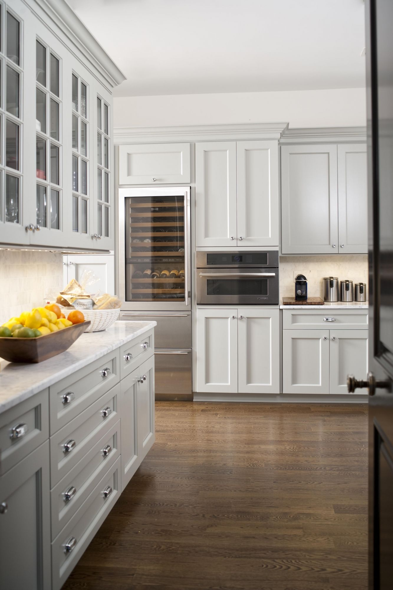 Kitchens With Grey Cabinets And White Appliances