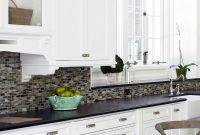 White Kitchen Gray Backsplash Black Counter