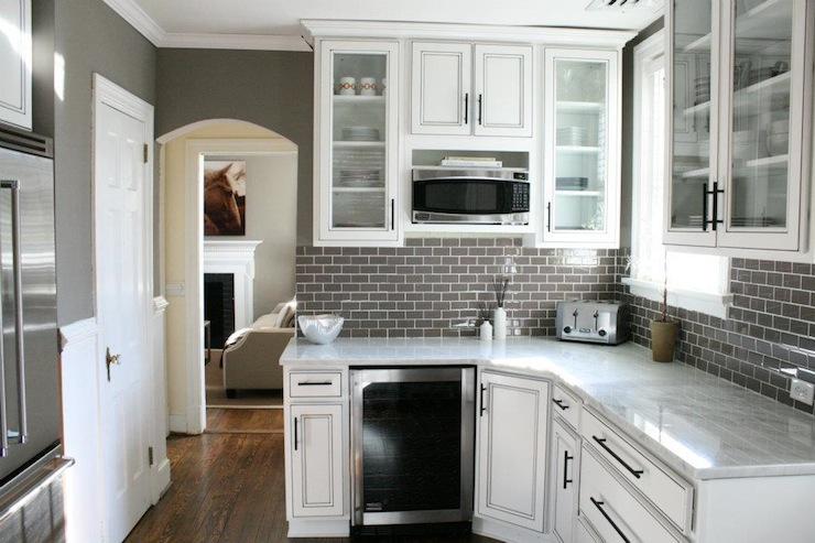 White Kitchen Dark Grey Backsplash