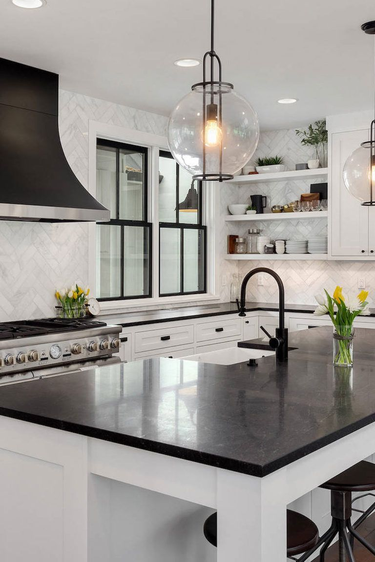 White Cabinets With Black Countertops Bathroom
