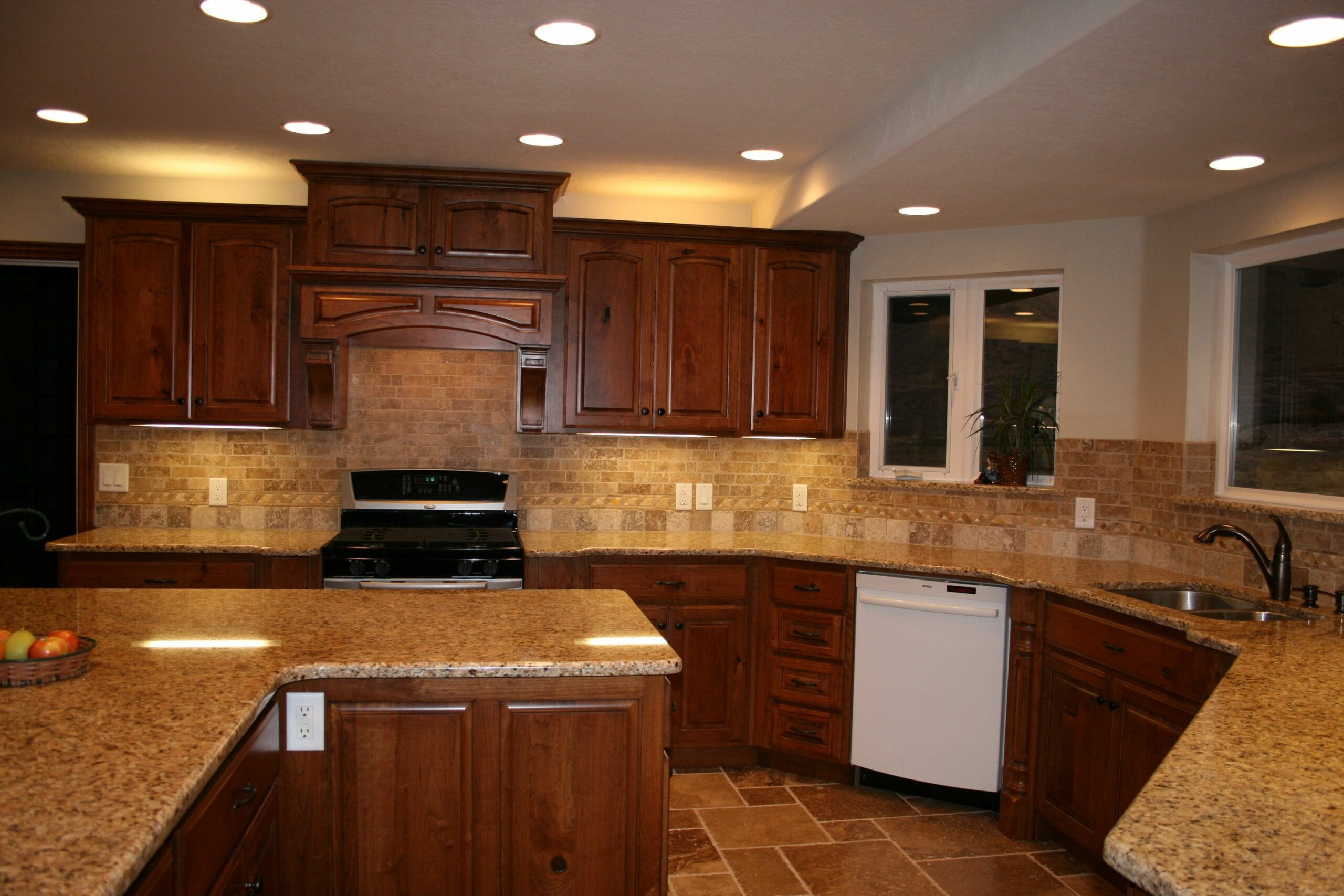 Kitchens With Cherry Cabinets And White Countertops