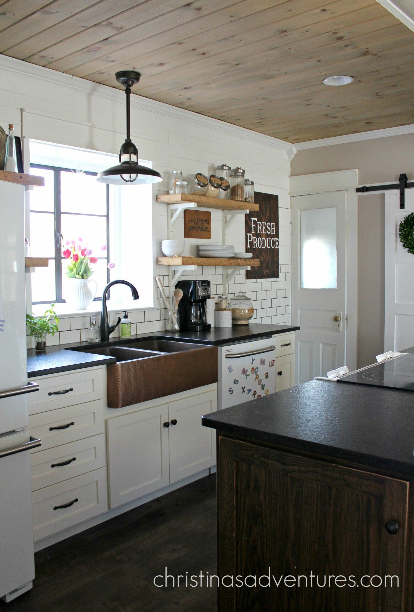 Farmhouse Kitchen White Cabinets Black Countertops