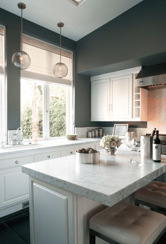 Kitchens With Gray Cabinets And White Walls