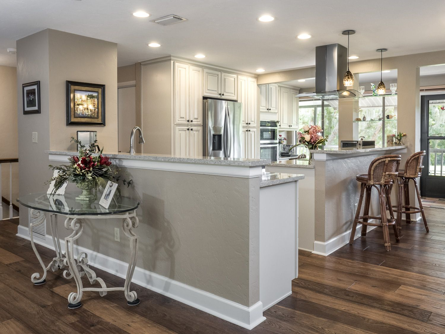 Kitchens With Brown Cabinets And Gray Walls