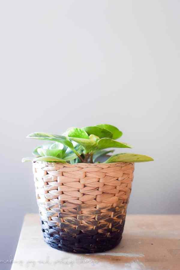 IKEA Hack DIY obmre finish on a wicker pot