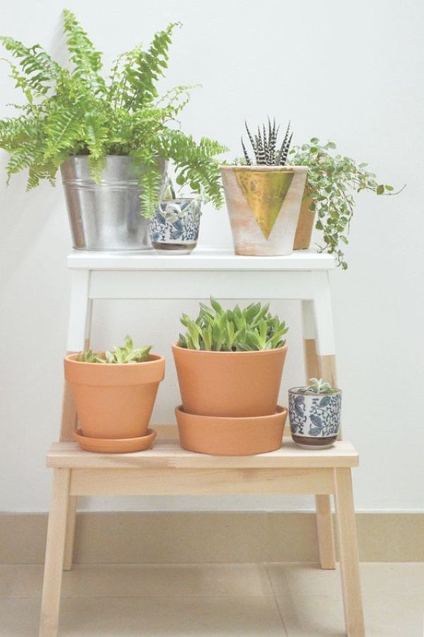 IKEA Hack paint stool for a fun plant stand.