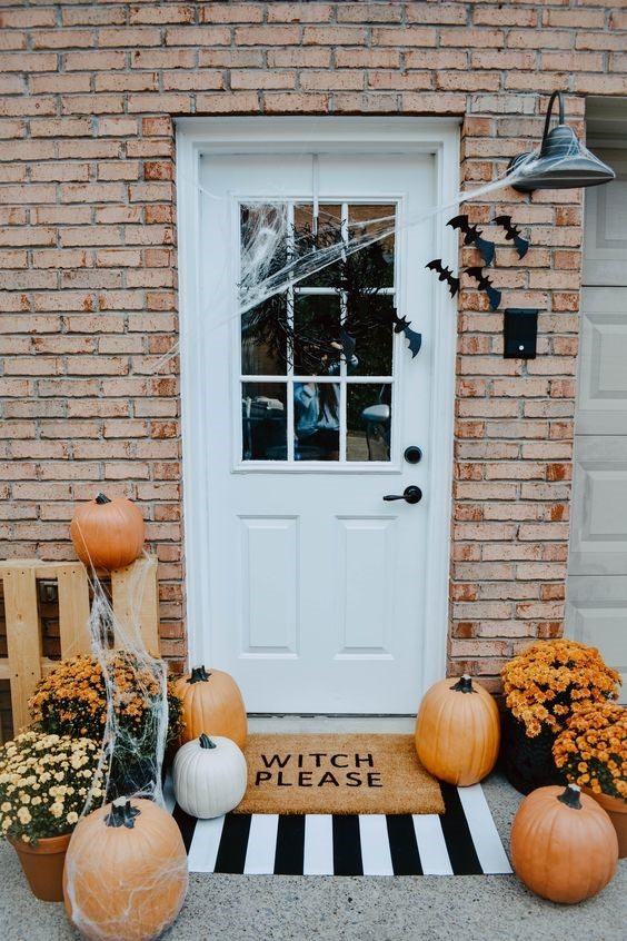 DIY witch please door mat for spooky fall front porch decor