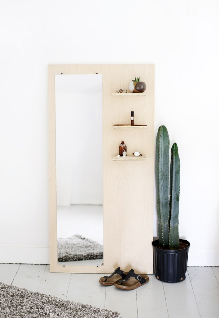 DIY modern floor plywood mirror