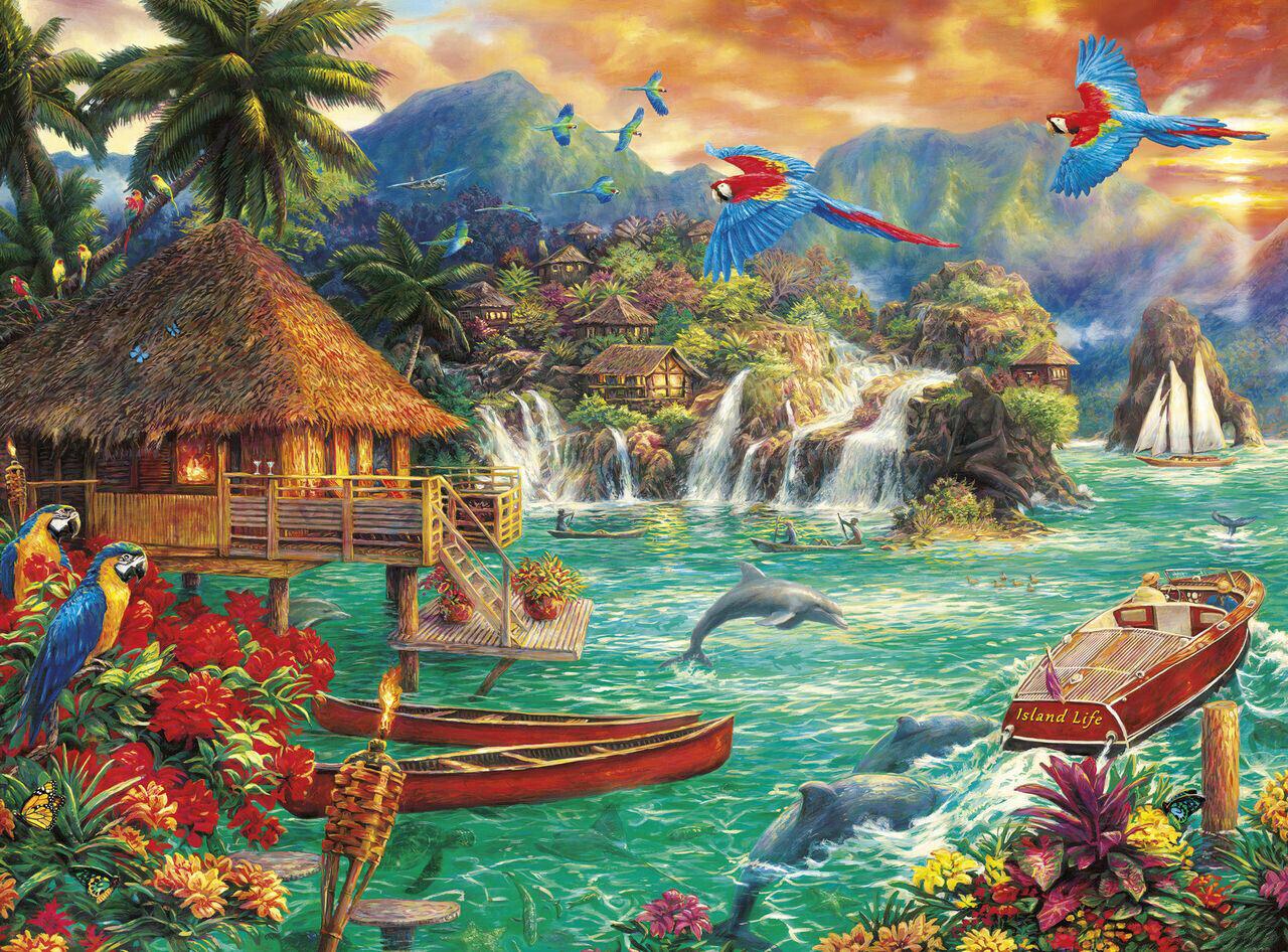tropical paradise exotic island birds