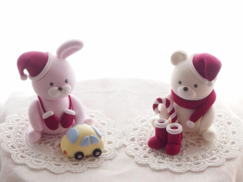 子供粘土教室 ウサギとクマのサンタクロース