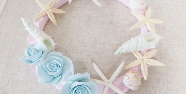 貝とバラのリース / 北九州市小倉クレイクラフト教室 Clay Craft* Decorocca