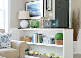 A DIY half wall bookcase @ThriftyDecorChick: