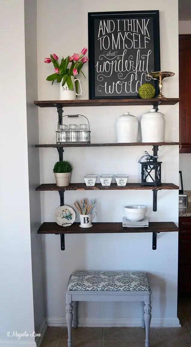 Tutorial for easy DIY open shelving | 11 Magnolia Lane: