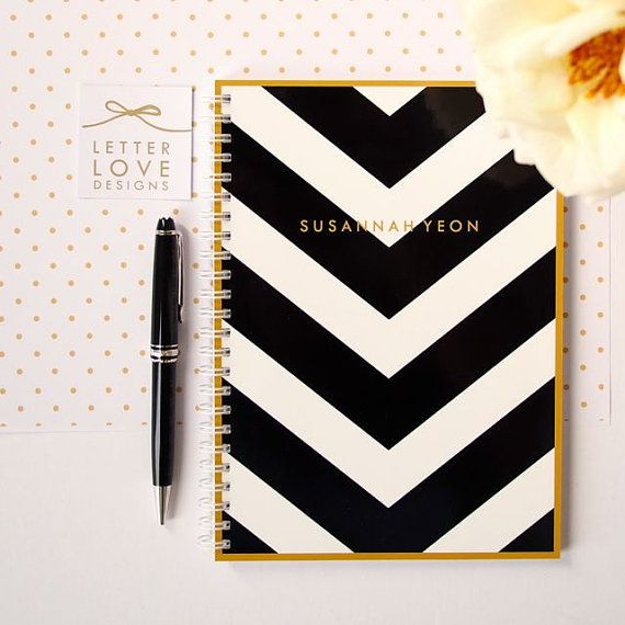 Personalized Notebook  V Stripe  Choose your by LetterLoveDesigns, .00  1. Colour of the stripe (pictured in black)  BLACK  2. Choice of personalization  LCJ   3. Colour of the personalization (pictured in brass)  BRASS  4. Choice of blank or lined pages (on the right hand side) BLANK
