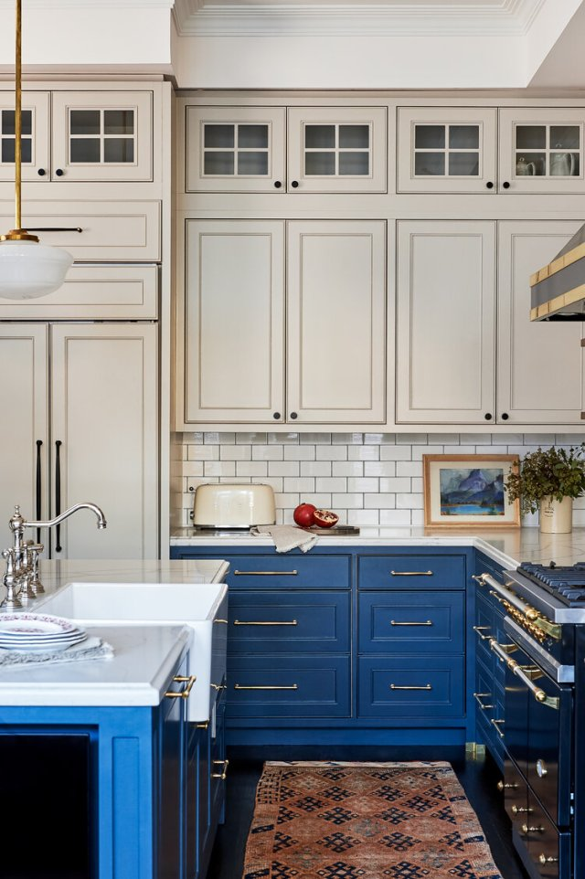 Beige and blue designed kitchen elements, with oven