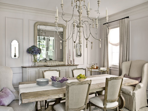 Dining table and chair with crystal chandelier
