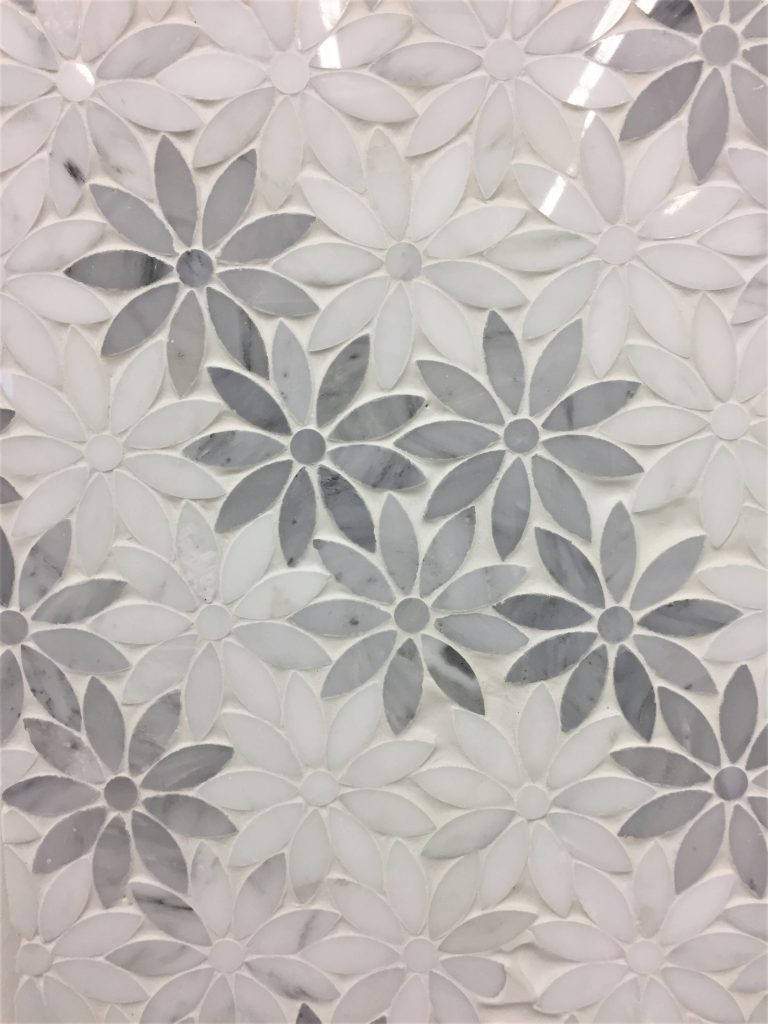 Oriental White And Grey Marble Flower Artistic Waterjet