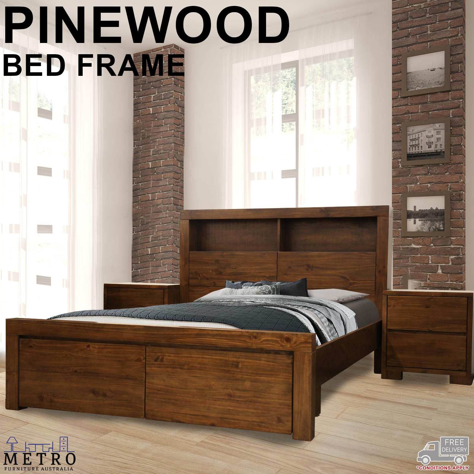 Pinewood King Size Bed Frame Storage Drawers Head N