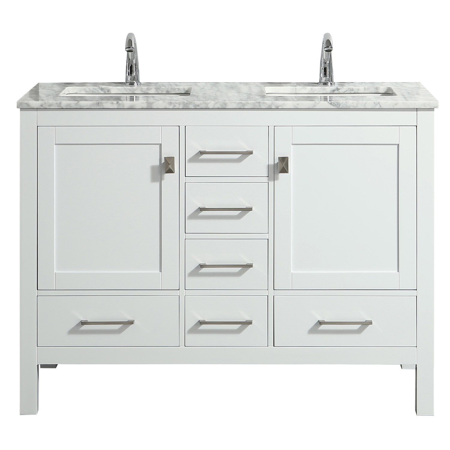 eviva london 48 x 18 transitional white bathroom vanity with white carrara marble and double porcelain sinks