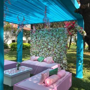 Floral wall, indian wedding mehendi seating, outdoor