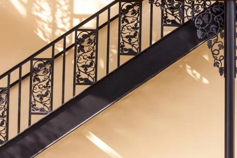 Change Your Stairs With Original Wrought Iron Stair Railings | Wrought Iron And Wood Stair Railing | Decorative | Iron Rail | Stairway | Wood Cap | Hand