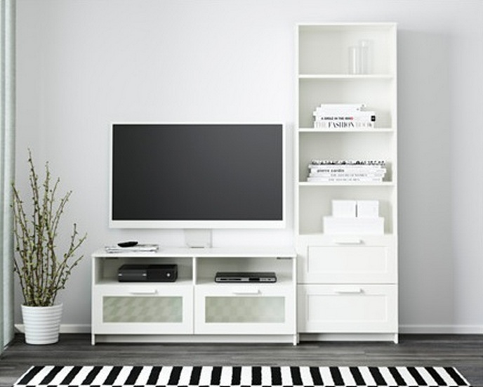 Perfect White TV Stands and Storage Combination